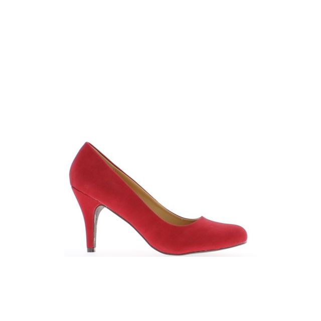 Chaussmoi Escarpins femme grande taille rouges aspect daim à talon de 9,5cm