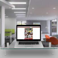 Dm052-3 Réhausseur d`écran / moniteur - Support en verre pour écran d`ordinateur ou ordinateur portable ou écran Tv 70 x 24 cm