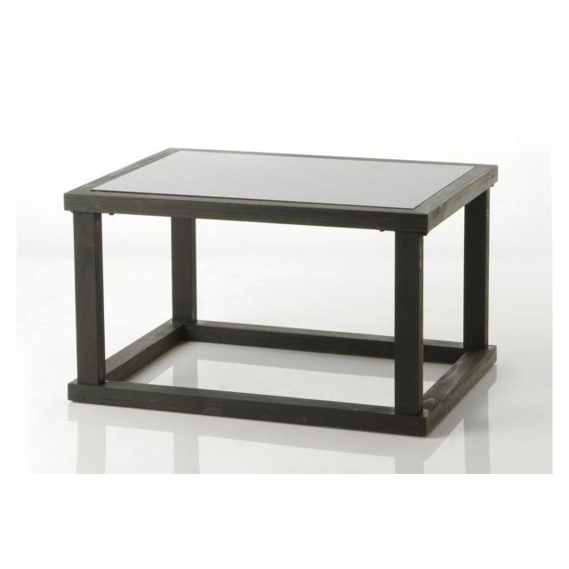 HELLIN Table basse en bois de sapin noir