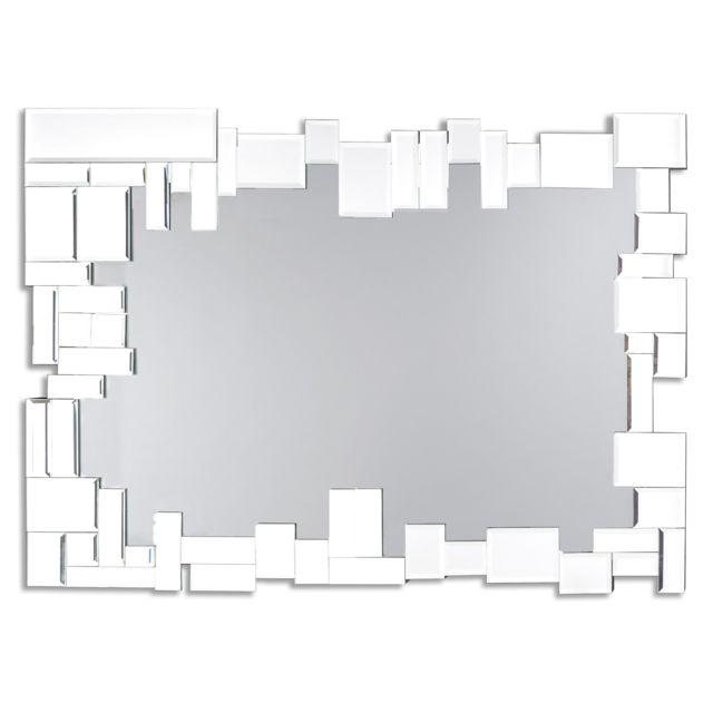 Dekoarte E064 - Miroir mural décoratif moderne, avec un cadre décoré et des cristaux blancs dans différents plans 100x70cm