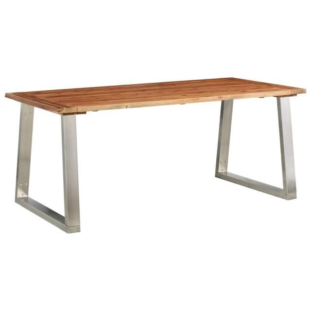 Magnifique Tables serie Washington Table à dîner 180x90x75 cm Bois d'acacia et acier inoxydable