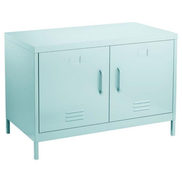 meuble bas 2 portes m tal bleu pas cher achat. Black Bedroom Furniture Sets. Home Design Ideas