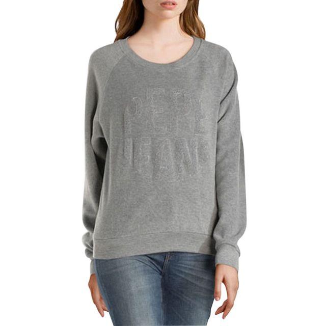 6c9307619dc2 Pepe Jeans - Sweatshirt Cameron Gris chine XS - pas cher Achat   Vente  Sweat femme - RueDuCommerce