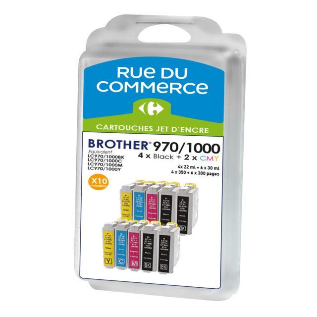 RUE DU COMMERCE Pack de 10 cartouches compatibles Brother LC970/LC1000 BK/C/M/Y