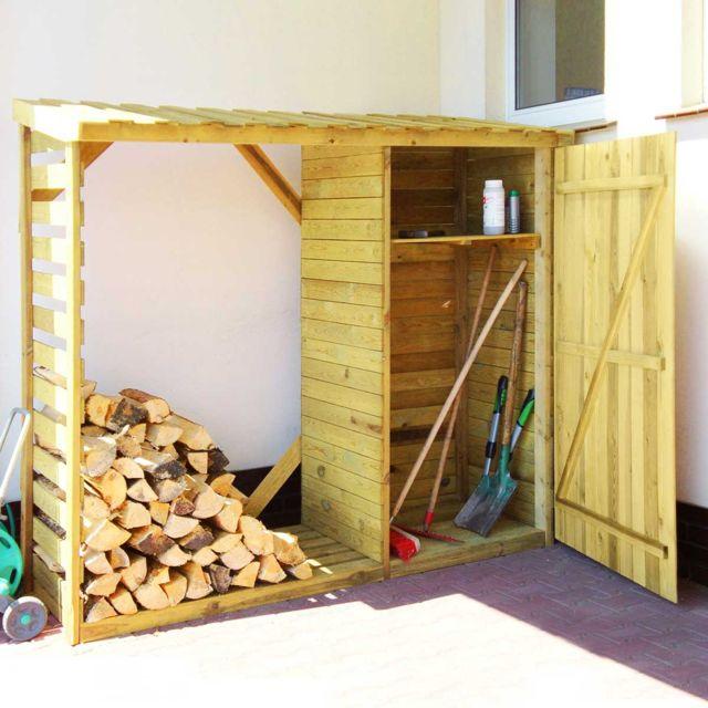 aaeb4deb1d3 Cemonjardin - Abri-bûches avec rangement et plancher en bois Zurich ...