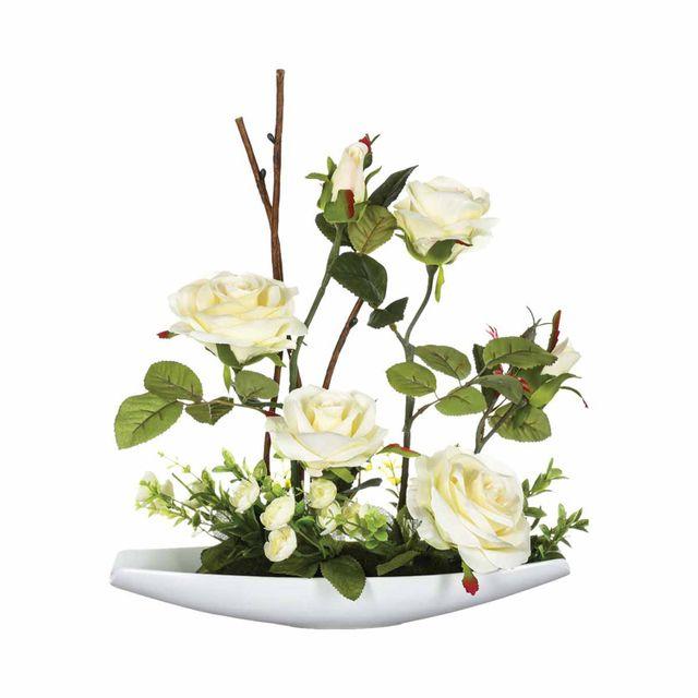 Atmosphera, Createur D'INTERIE Composition de fleurs artificielles Roses - H. 36,5 cm - Coupelle céramique