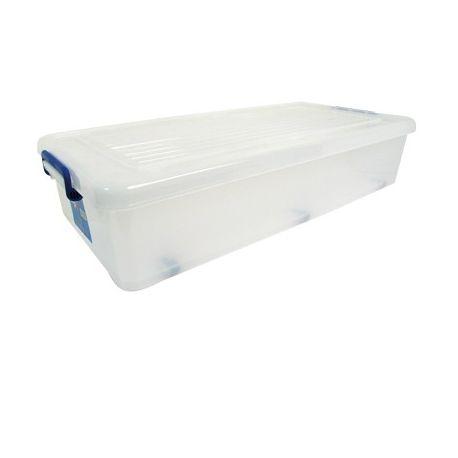 msv boite de rangement dessous de lit a roulettes 35l transparent poign es bleues pas cher. Black Bedroom Furniture Sets. Home Design Ideas
