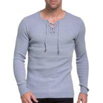 BLZ Jeans - Pull homme gris et blanc côtelé avec col cordon