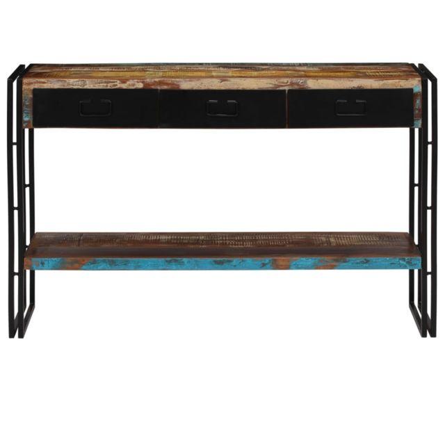 Icaverne - Bouts de canapé ensemble Table console Bois de récupération massif 120 x 30 x 76 cm