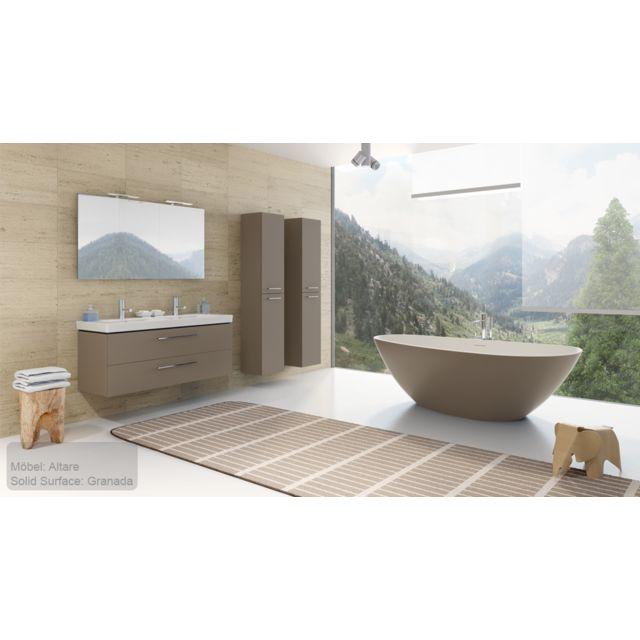 Riho Ensemble meuble & lavabo Altare Set 34 en bois laqué brillant 130x47 x H56,5 cm