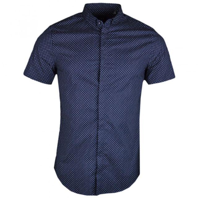 Armani Ea7 Chemise manches courtes bleu marine à mini imprimé lettres logo pour homme