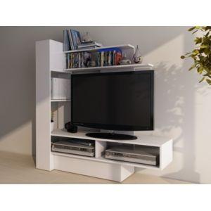 vente unique mur tv kabello avec rangements blanc pas cher achat vente meubles tv hi fi. Black Bedroom Furniture Sets. Home Design Ideas