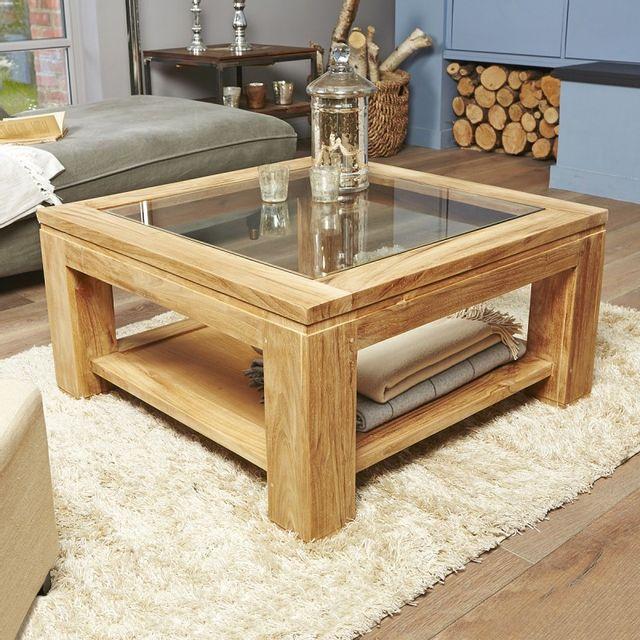 bois dessus bois dessous table basse vitr e en bois de teck 80 cm 80cm x 80cm x 40cm n a. Black Bedroom Furniture Sets. Home Design Ideas
