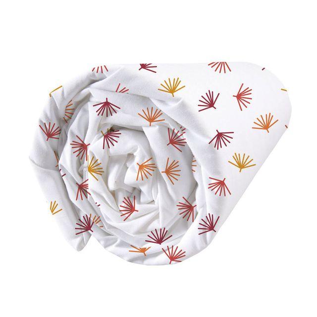 Matt&ROSE - Drap housse coton feuille tropicale géométrique cuivre/brique fond blanc Jungle Graphique - 140x200cmNC Orange - Nccm x 200cm