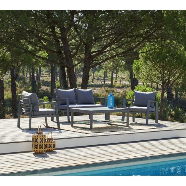 HYBA - Salon bas de jardin Canberra 4 pièces - Gris - pas cher Achat ...