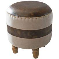 7478ff044483f COMFORIUM - Tabouret pouf style vintage en cuir véritable coloris marron 44  x 47 x 44