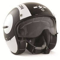 Harisson - casque jet moto scooter fibre noir-blanc brillant Snooker Deco - Ca124 L