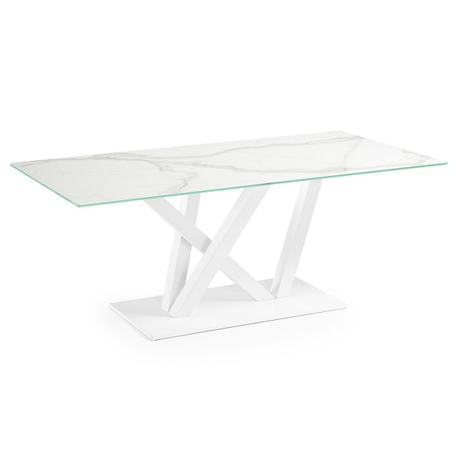 Kavehome Table Nyc 180x100, epoxy blanc Kalos blanco