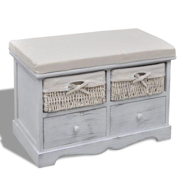 Vidaxl Banc de rangement blanc en bois avec 2 paniers de tissage et 2 tiroirs | Blanc