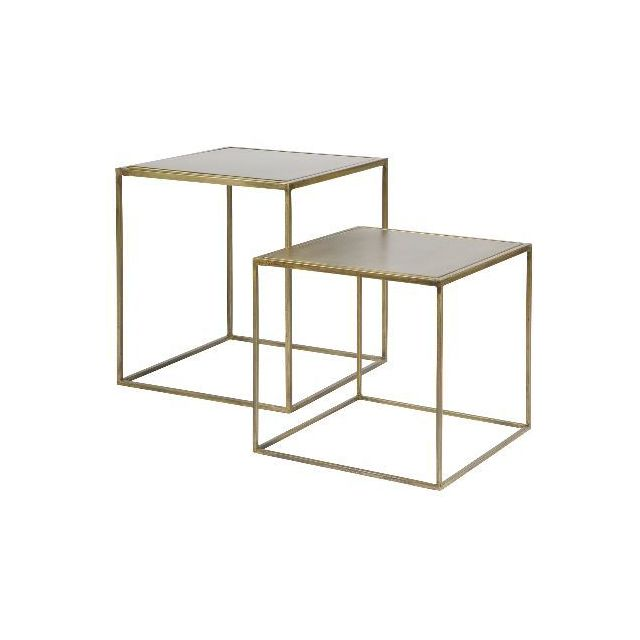 CARREFOUR HOME Set de 2 tables gigognes - Laiton vieilli