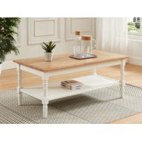 Table basse HONFLEUR - Double plateau - Pin blanc