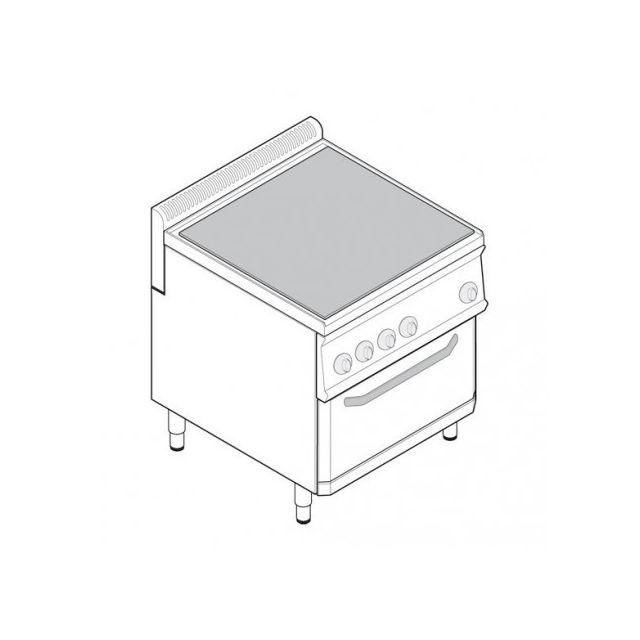 Materiel Chr Pro Fourneau plaque coup de feu sur four ventilé électrique Gn 1/1 - gamme 700 - module 350 - Tecnoinox - 700