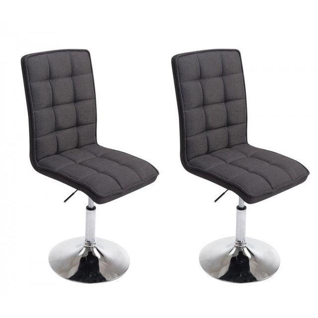 Lot de 2 chaises de salle à manger hauteur réglable en tissu gris foncé Cds10051