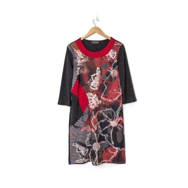 Veti Style Robe grande taille femme rouge 42 au 56 pas