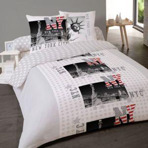 dourev housse de couette 200x200 cm 2 taies ny freedom pas cher achat vente housses de. Black Bedroom Furniture Sets. Home Design Ideas