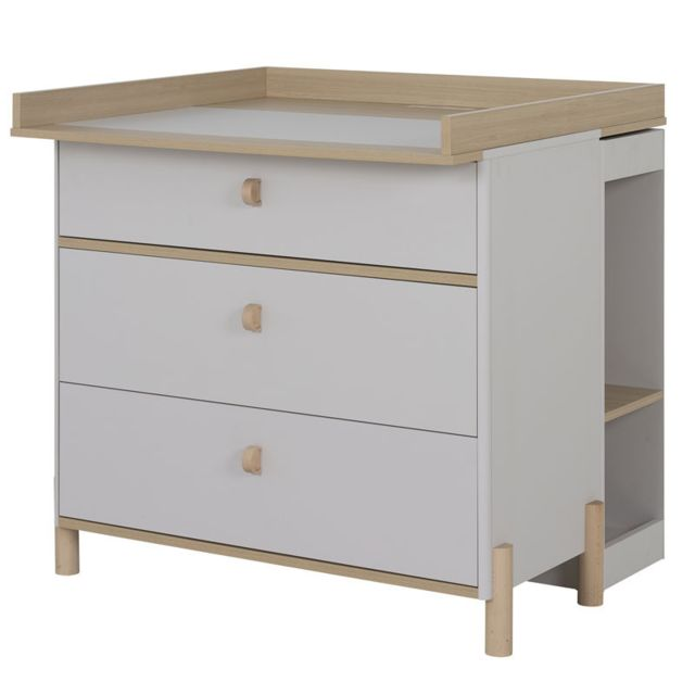 Tousmesmeubles Commode à langer 3 tiroirs Bois/Gris clair - Tresor