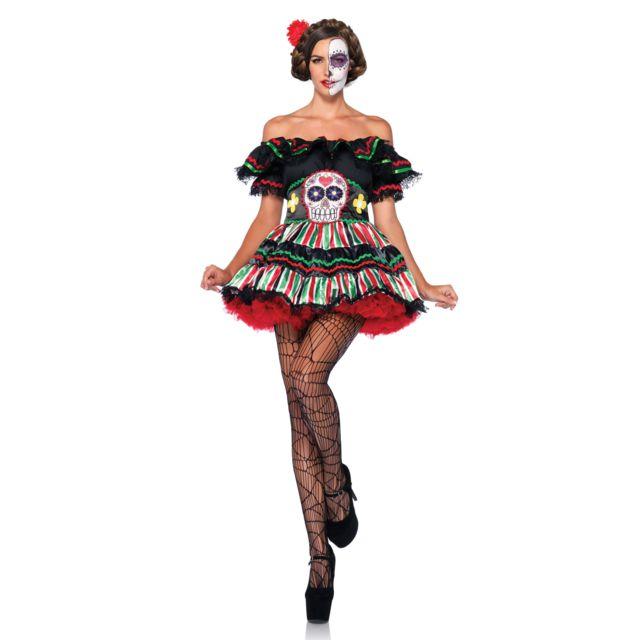 2b8a86cc49fd8d Déguisement squelette mexicaine colorée femme Dia de los muertos - taille -  Xl - 228273