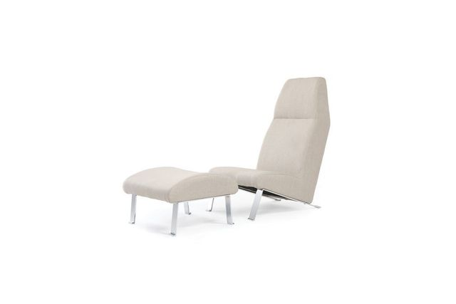 Miliboo Fauteuil bas avec repose pieds beige Warhly