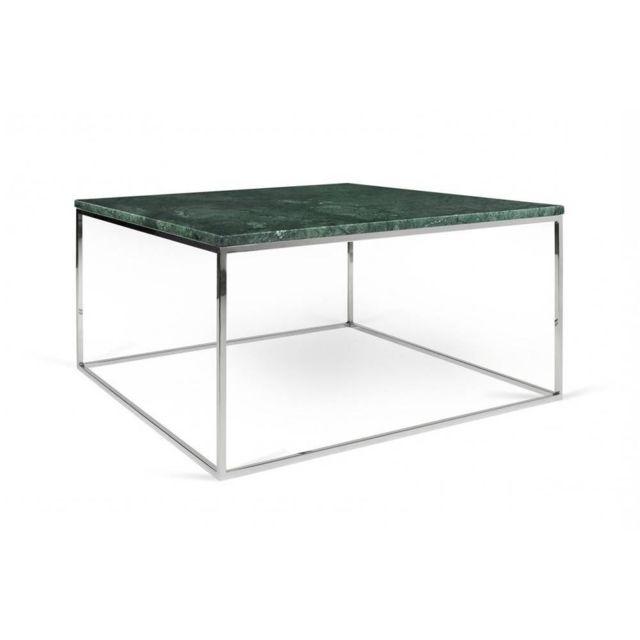 380de912d12ba2 Inside 75 - Table basse rectangulaire Gleam 75 plateau en marbre vert  structure chromée