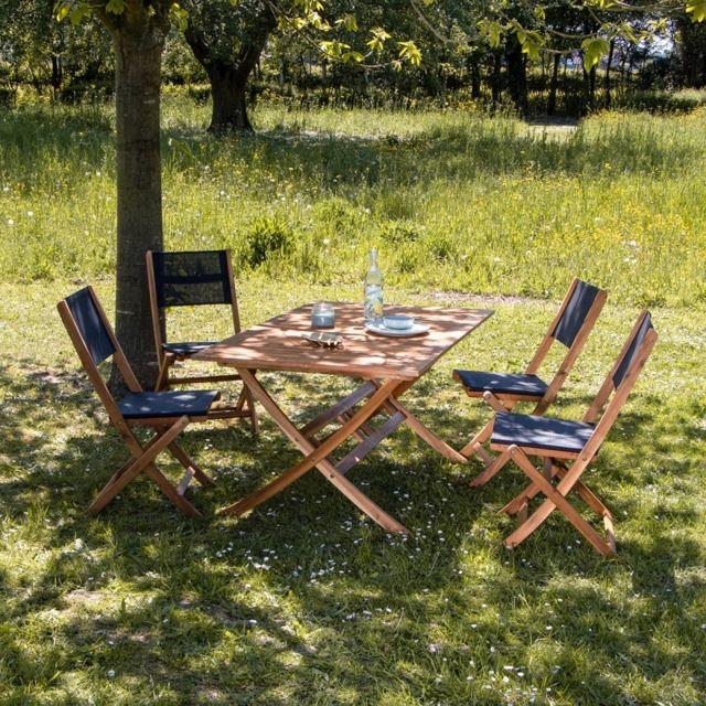 Salon de jardin en bois d\'acacia Fsc noir 4 places
