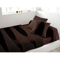 Eden - Parure de lit en percale Spirit chocolat