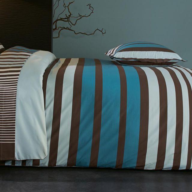 Linnea - Housse de couette 260x240 cm Percale pur coton Stripe Bleu ... 96be796059ba