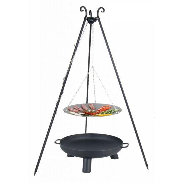 Cook - Maison De La Tendance La poêle, le Wok à feu de camp spécial brasero sur trépied Ø 33 cm + Brasero Bali 60 cm