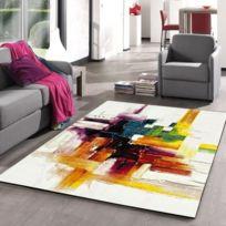 Tapis - Dessous De Tapis Belis Tapis de salon contemporain 160x230 cm  blanc, orange et vert