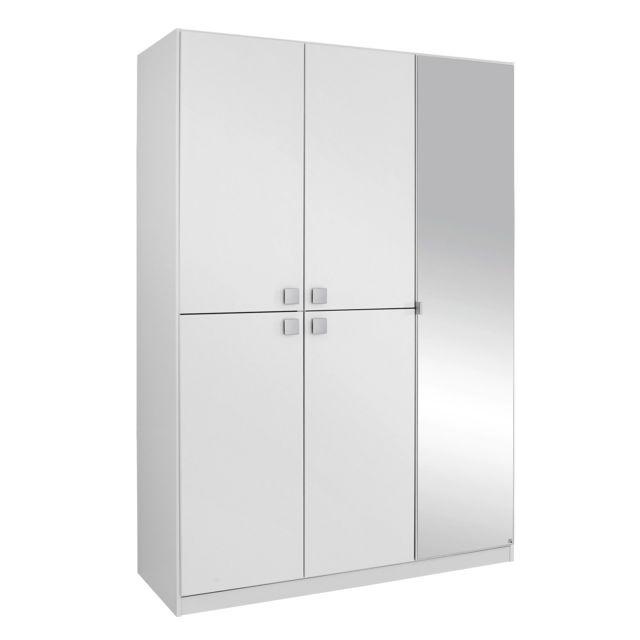 Armoire 5 portes dont une miroir - blanc