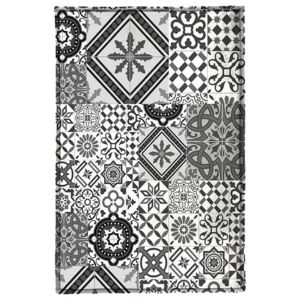 monbeautapis tapis motifs carreaux de ciment gris noir 130x90cm toodoo pas cher achat. Black Bedroom Furniture Sets. Home Design Ideas