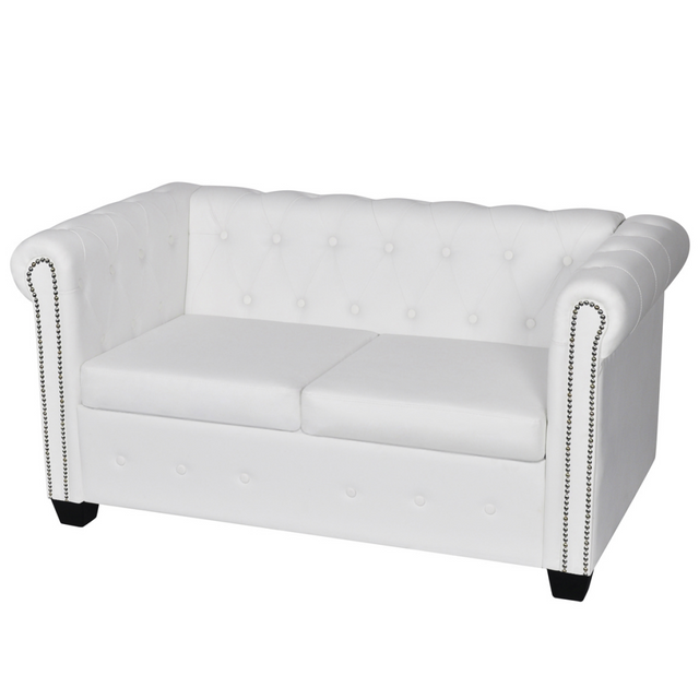 Vidaxl Canapé Chesterfield de 2 places Blanc