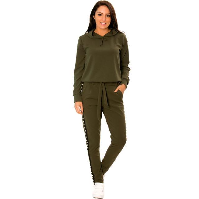 8fb085ba760 Grossiste-en-ligne - Ensemble jogging kaki à bandes noires perlées sur le  côté très fashion. 1765 Vert - pas cher Achat   Vente Pantalon femme - ...