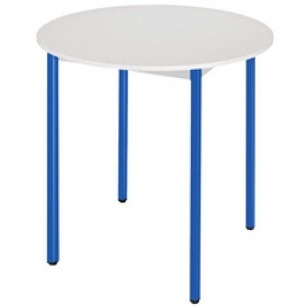 Sodematub Naudin Table ronde diamètre 80 cm - piètement bleu - plateau gris
