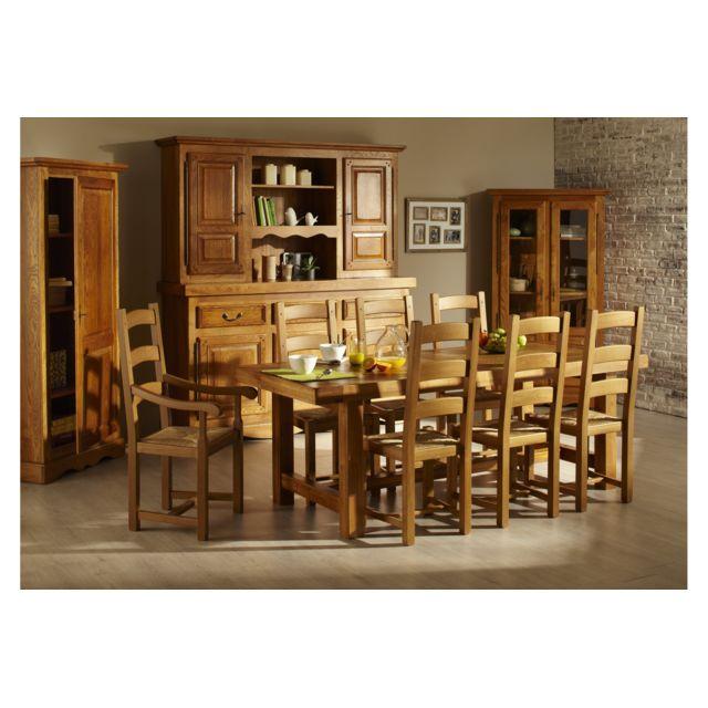 HELLIN Table de Ferme en chene massif + 6 chaises LA BRESSE