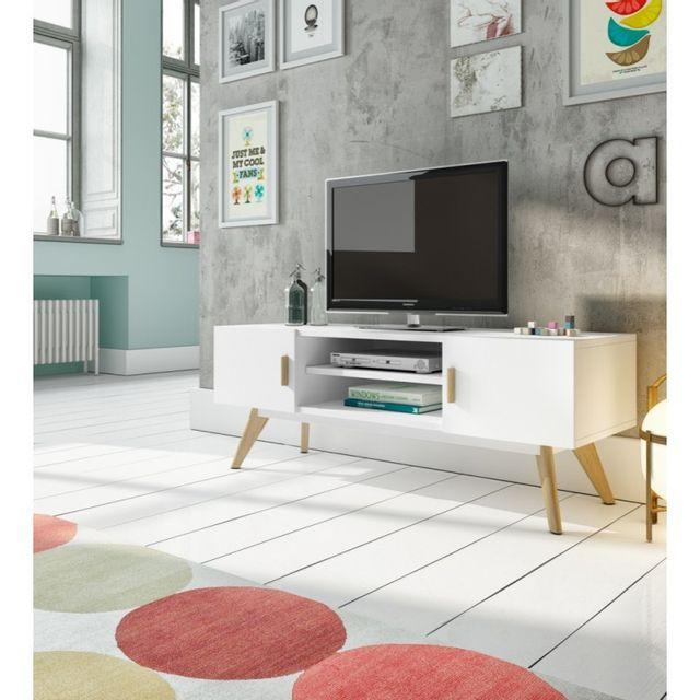 Ma Maison Mes Tendances Meuble Tv 2 portes 1 étagère en bois laqué blanc semi-mat et chêne Argo - L 120 x l 40 x H 45