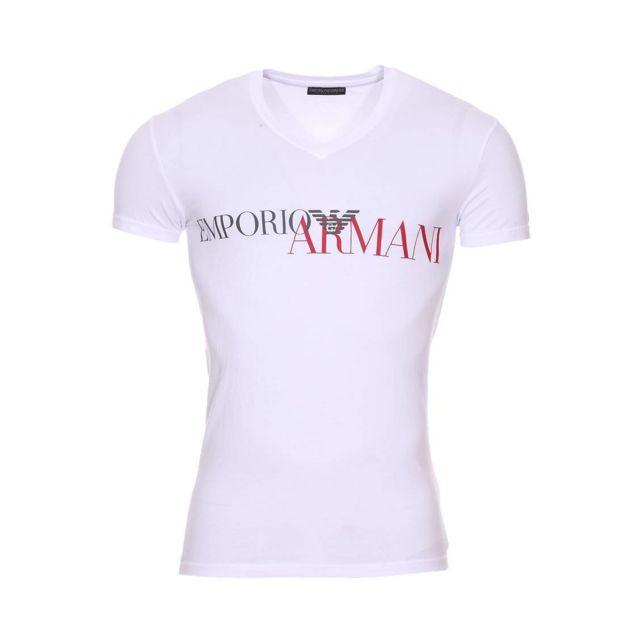 Armani Ea7 - Tee-shirt col V Emporio Armani en coton stretch blanc floqué en b2938198cef
