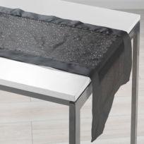 Aucune - Chemin de table Organza imprim et Satin Festille 40x140 cm noir