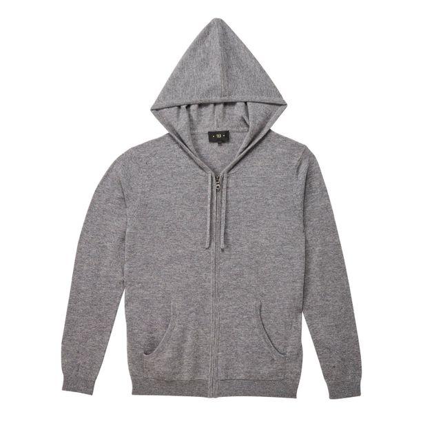 TEX - Cardigan zippé avec capuche en laine et cachemire - pas cher ... 30d3f02a1bae