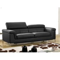 la maison du canap canap cuir 3 places rania cuir suprieur noir - Canape Cuir Moderne Contemporain