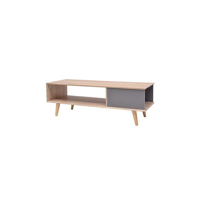 Table basse 2 niches gris et décor chêne - Syla